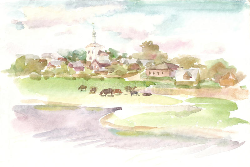 Village scenery. A village with a church. A herd of cows by a river.. Watercolor