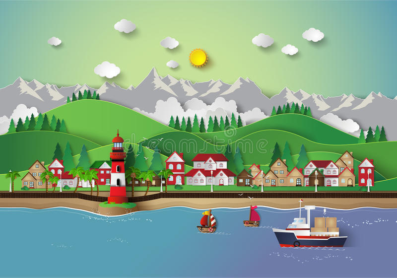 Village and sea bay. Illustration of village and sea bay.paper cut style royalty free illustration