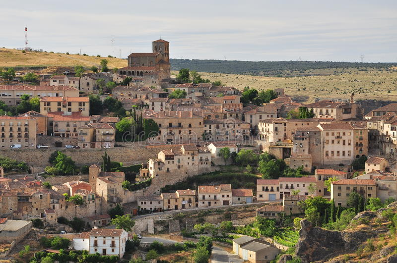 Sepulveda, Spanish old village in Segovia, Castile, Spain. Spanish traditional old hanging village of Sepulveda and hilly countryside. Province of Segovia royalty free stock photos