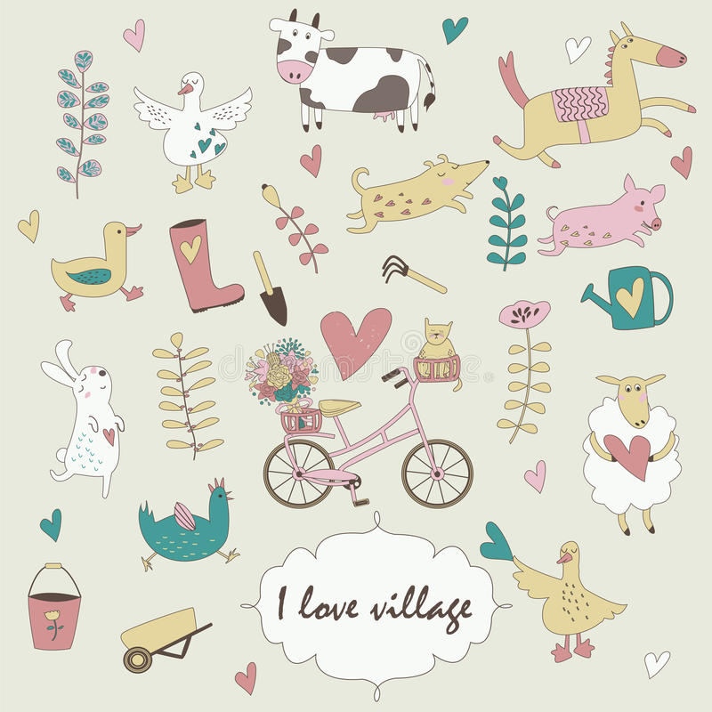 Village set. With cute farm animals, bicycle, flowers and garden tools in cartoon style vector illustration