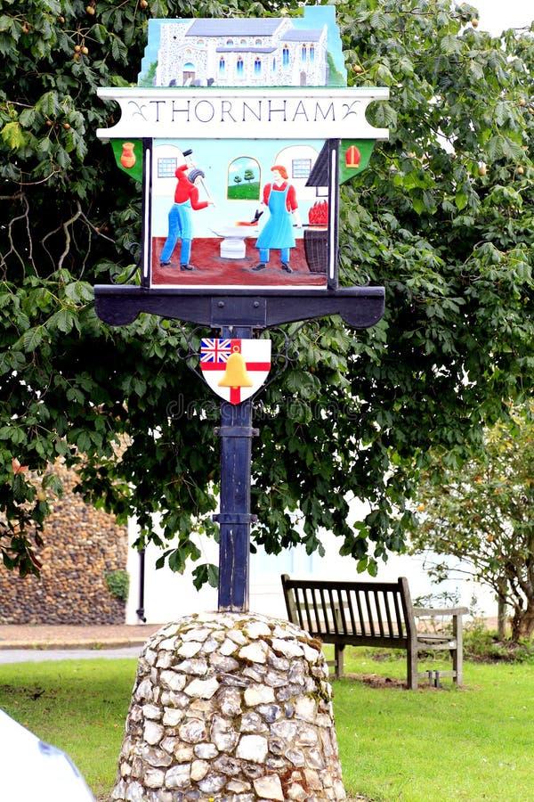 Download Village Sign, Thornham, Norfolk. Stock Photo - Image: 41332679
