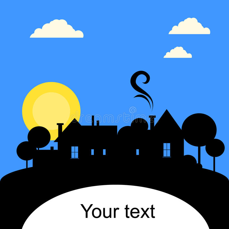 Village, silhouette. With sun and blue sky. Vector royalty free illustration
