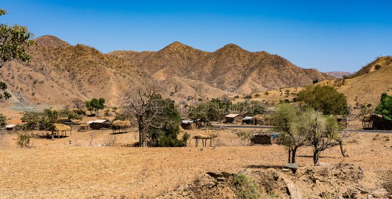 Village in the the Simien Mountains National Park in Northern Ethiopia. A little villagein the Simien Mountains National Park in Northern Ethiopia on the way to royalty free stock photos