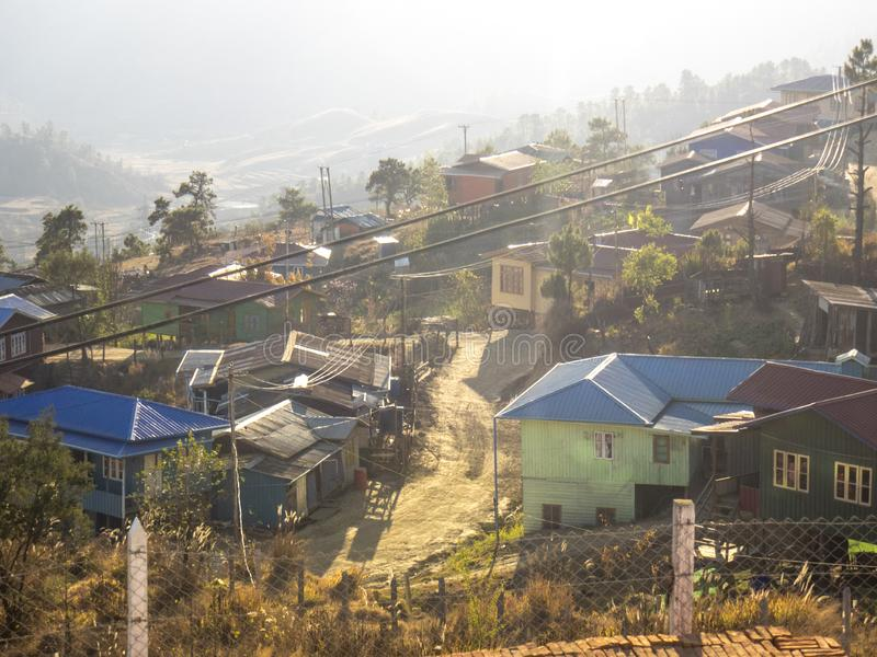 A village situation and architecture was built adjusted hilly area in Chin state Myanmar royalty free stock images