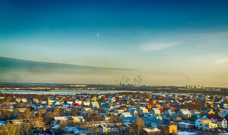 Village sky factory royalty free stock photography