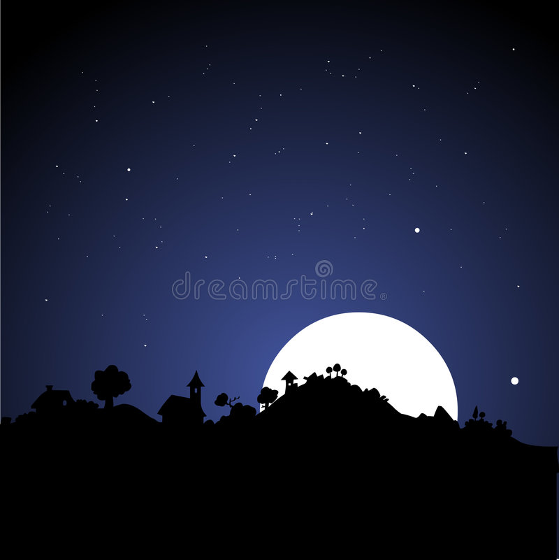 Free Village Skyline At Night Royalty Free Stock Image - 1093566