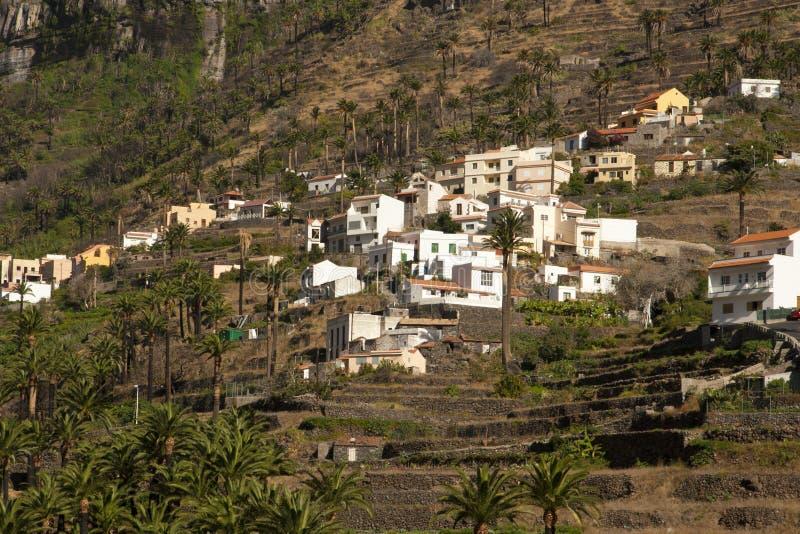 Village on the slope. Of the mountain, La Gomera island, Spain royalty free stock photos