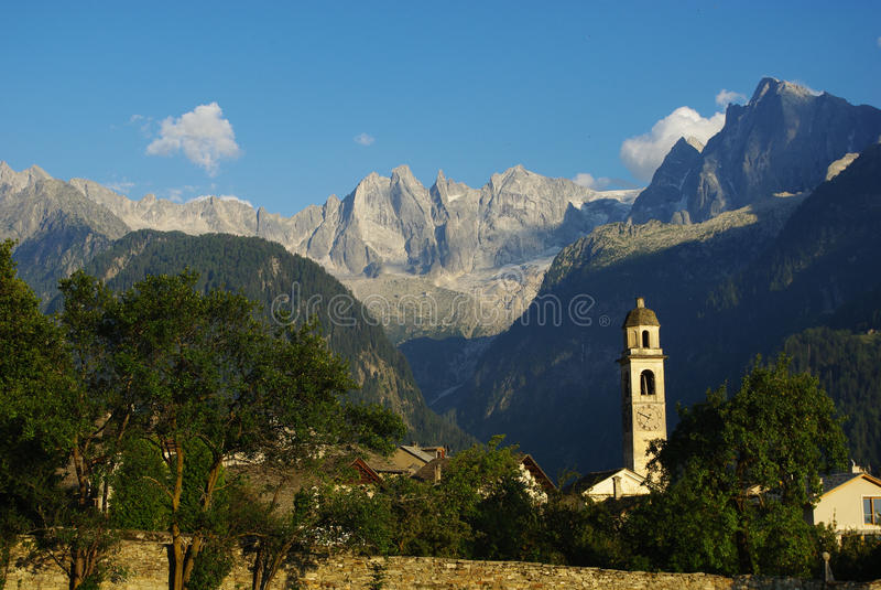 Download Village Of Soglio With Sciora Alps And Glacier Royalty Free Stock Image - Image: 24712496