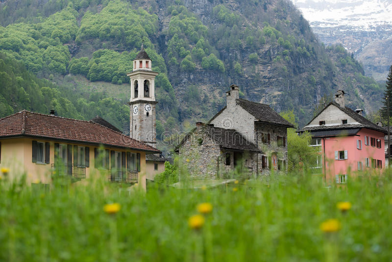 The village of Sonogno in the valley of the Verzasca river, Swit royalty free stock images