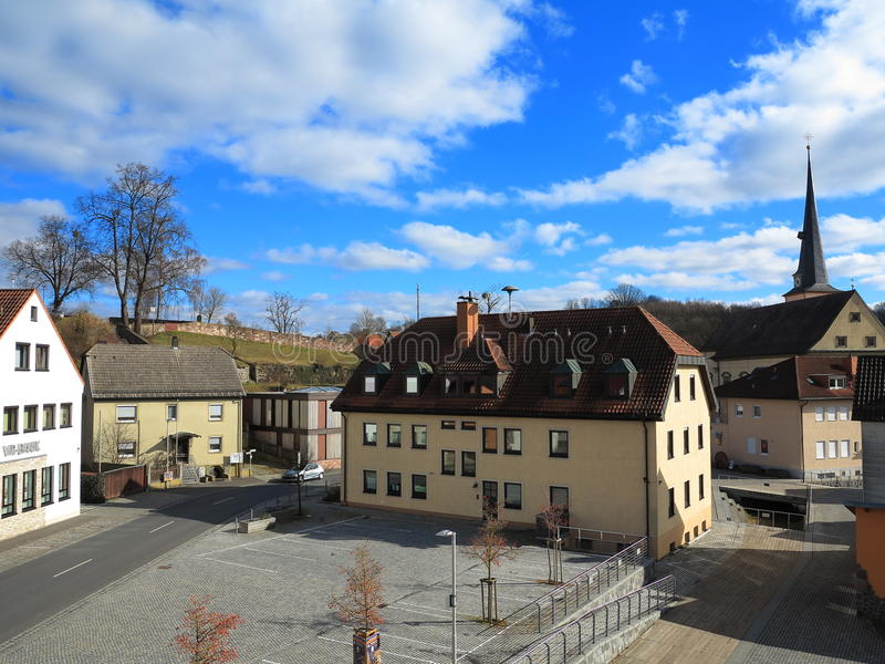 Public square of old village Burkardroth stock photography