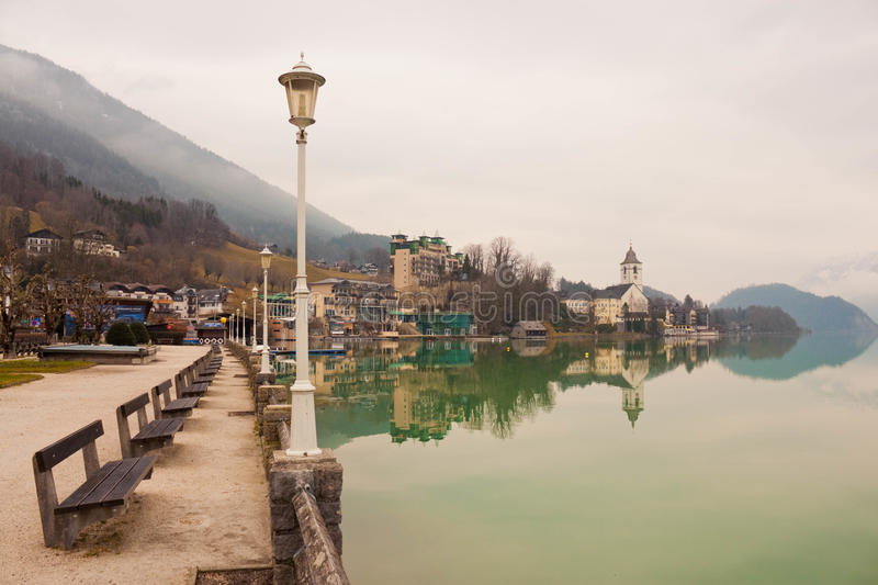 The village of St. Wolfgang on Wolfgangsee lake in austrian Alps royalty free stock photos