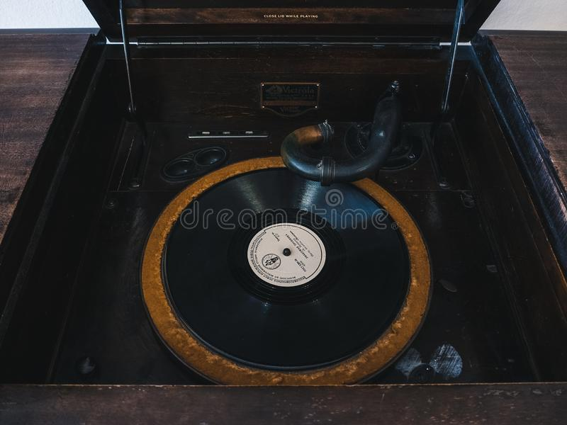 Vintage antique vinyl record player company Victrola close-up royalty free stock images