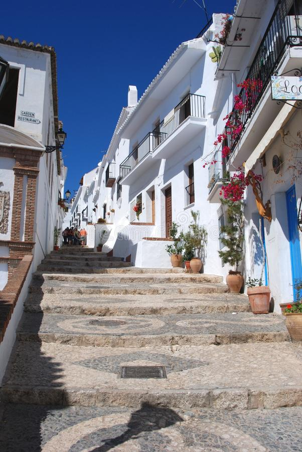 Village street, Frigiliana, Spain. stock photography