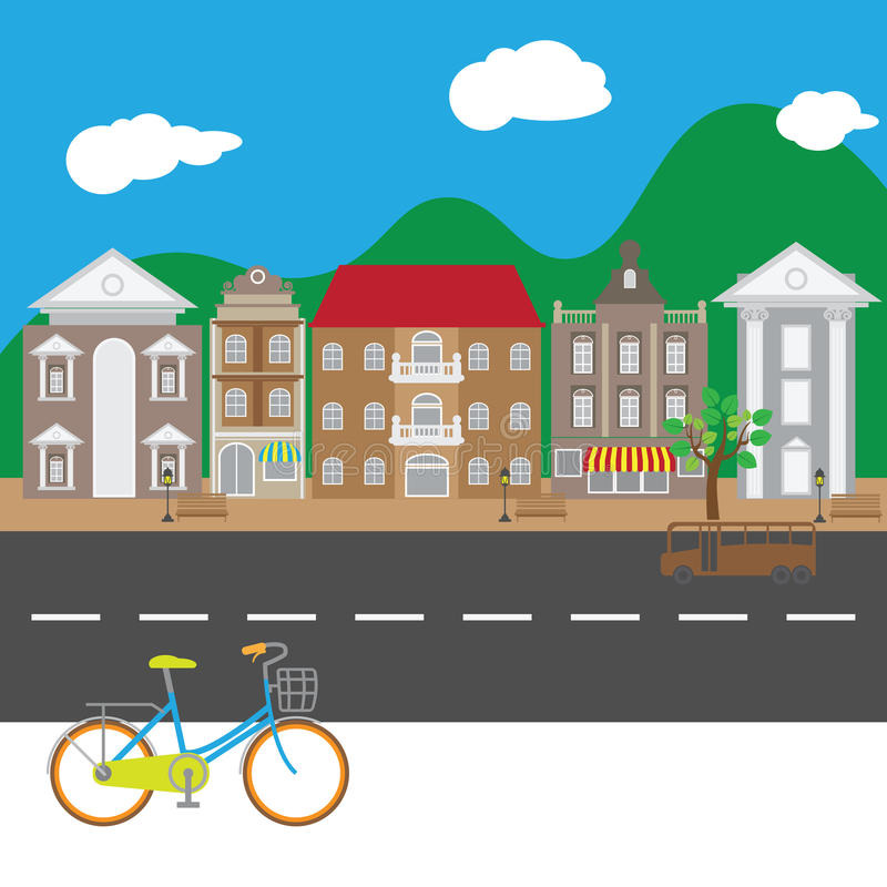 Village street view peaceful royalty free illustration