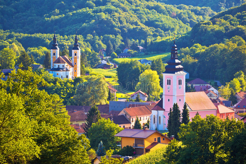 Village of Strigova towers and green landscape stock photos