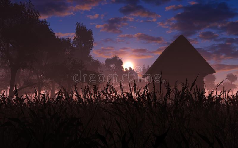 Download Village In The Sunset stock illustration. Illustration of setting - 43721352