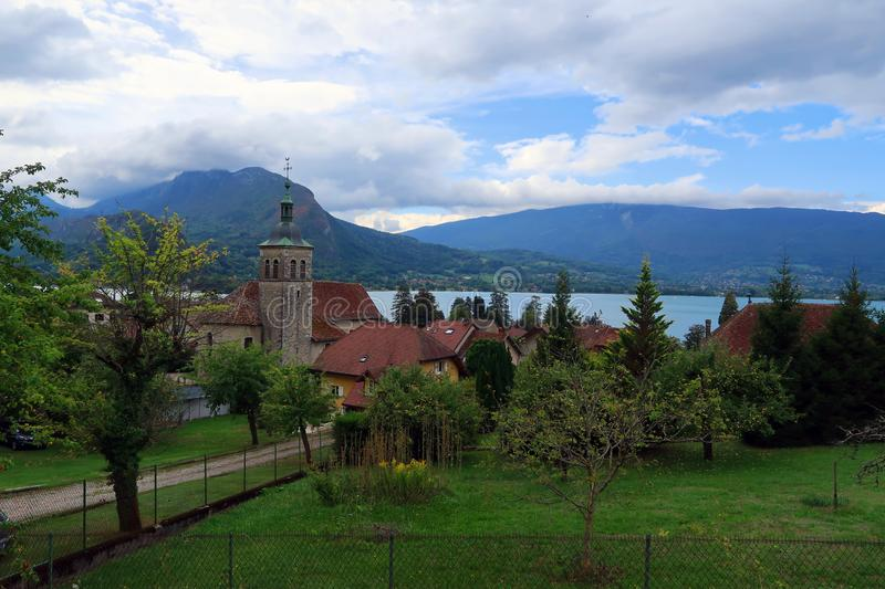 Village Talloires with church at lake of Annecy stock photo