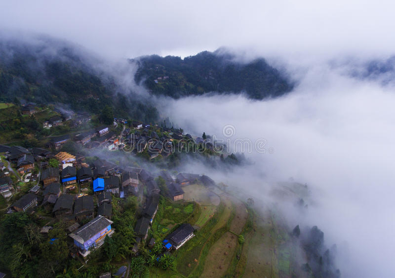 The village & thick fog royalty free stock photography