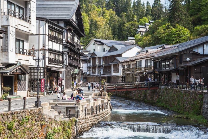 Village traditionnel de Ginzan Onsen en préfecture du ` s Yamagata du Japon photo libre de droits