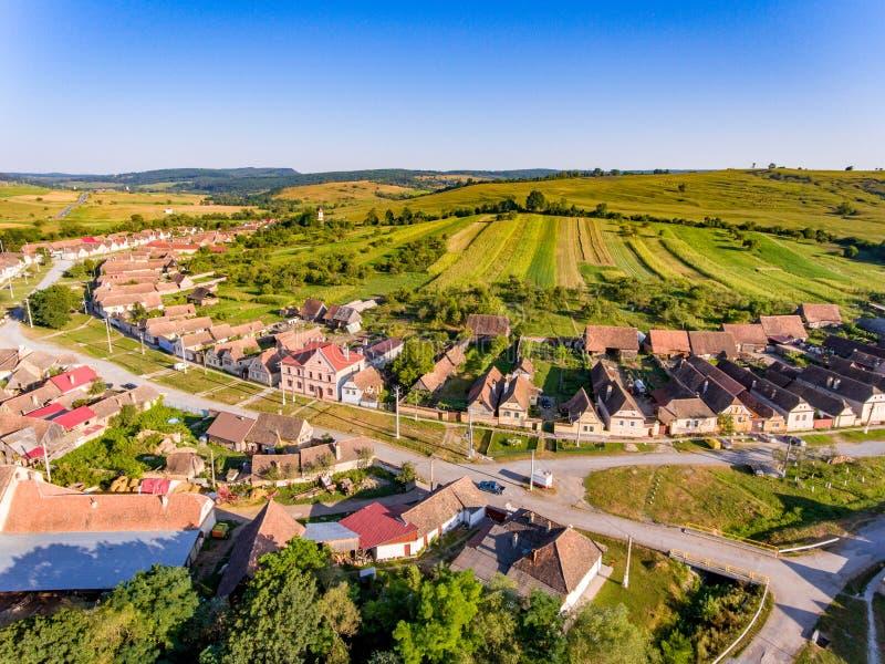 Village traditionnel de Saxon Crit - Kreuz (Detschkrets) dans Transylv images libres de droits