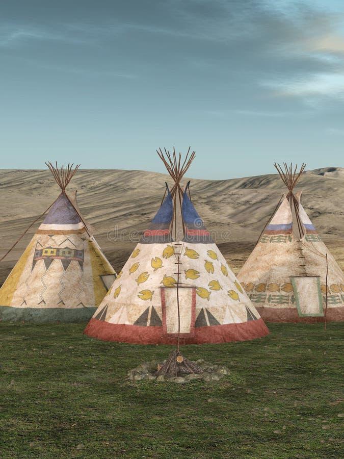 Village traditionnel de teepee illustration libre de droits