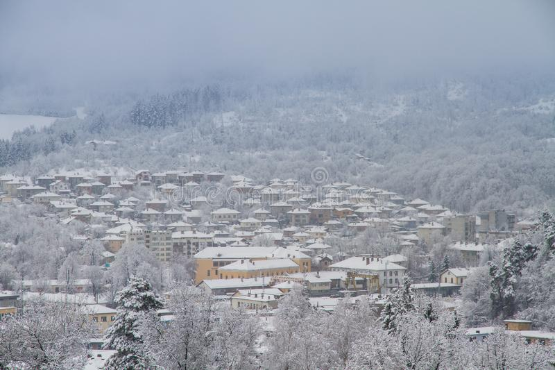 The village Tryavna in winter. royalty free stock photos