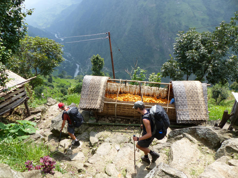 Village Upper Chipla in Nepal. Little village in Nepal - Annapurna Circuit trek stock image