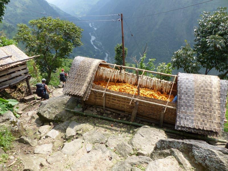 Village Upper Chipla in Nepal. Little village in Nepal - Annapurna Circuit trek royalty free stock image
