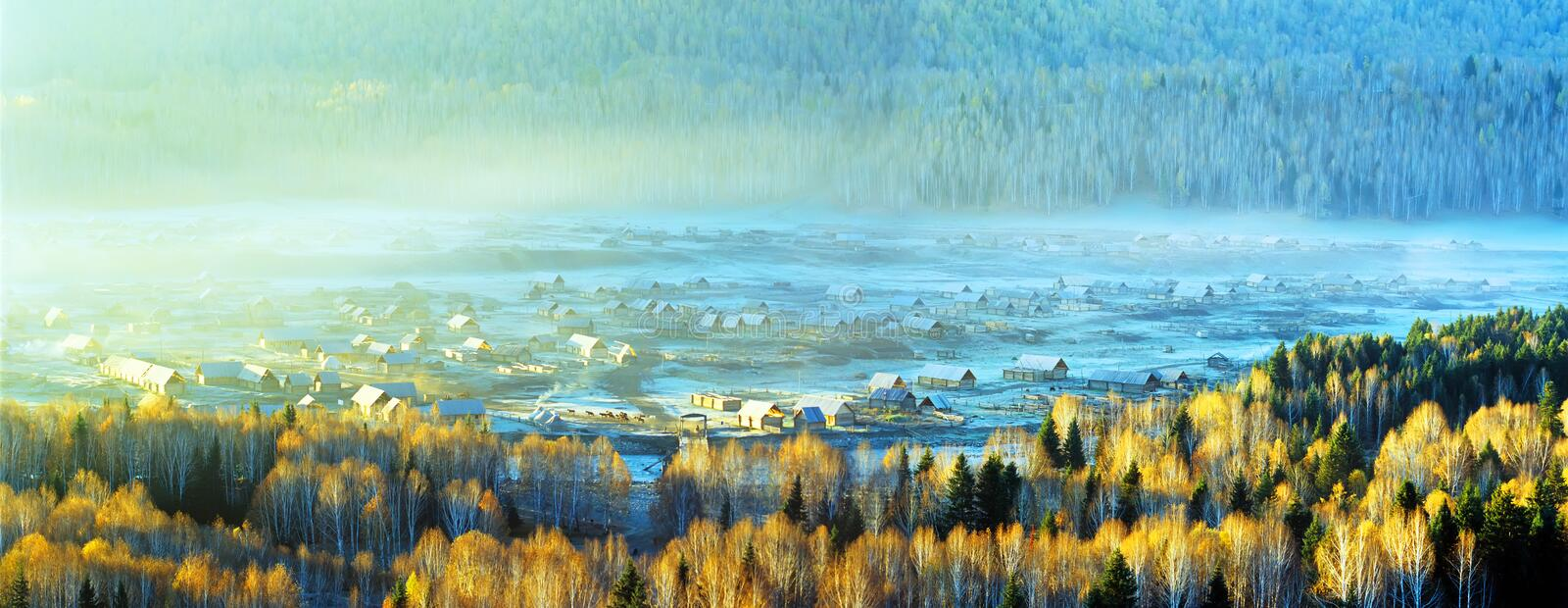 Village in the valley royalty free stock image