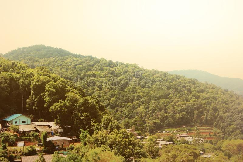 Village in the valley Beautiful views, beautiful traditional mountain huts and peaks in the bright morning light - image royalty free stock photography