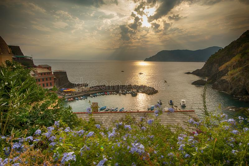 Village of Vernazza in Italy, part of Cinque Terre and a UNESCO heritage site royalty free stock photo