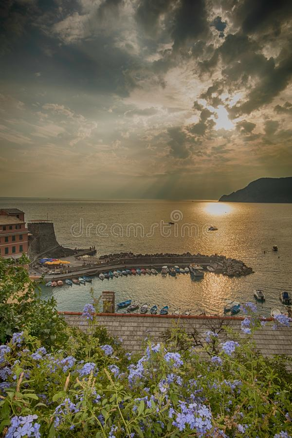 Village of Vernazza in Italy, part of Cinque Terre and a UNESCO heritage site royalty free stock image
