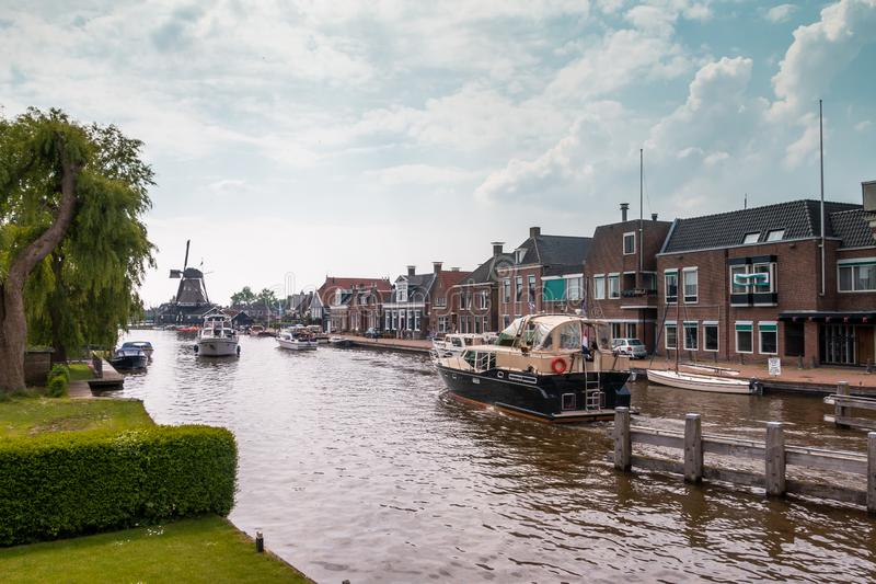 Village view of Woudsend famous for watersports. And leisure in the Netherlands, province Friesland stock photo