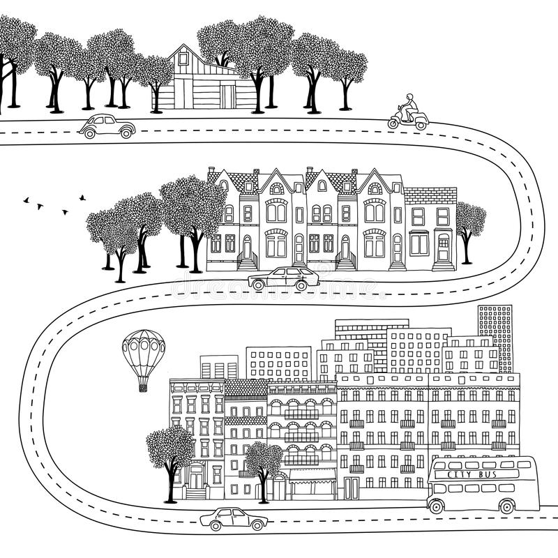 Village, ville et grande ville illustration libre de droits