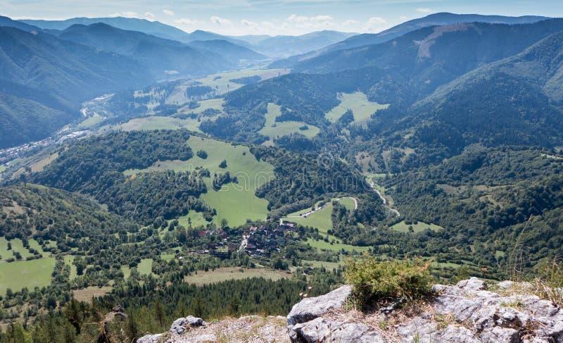 Village Vlkolinec from hill Sidorovo, Slovakia royalty free stock photos