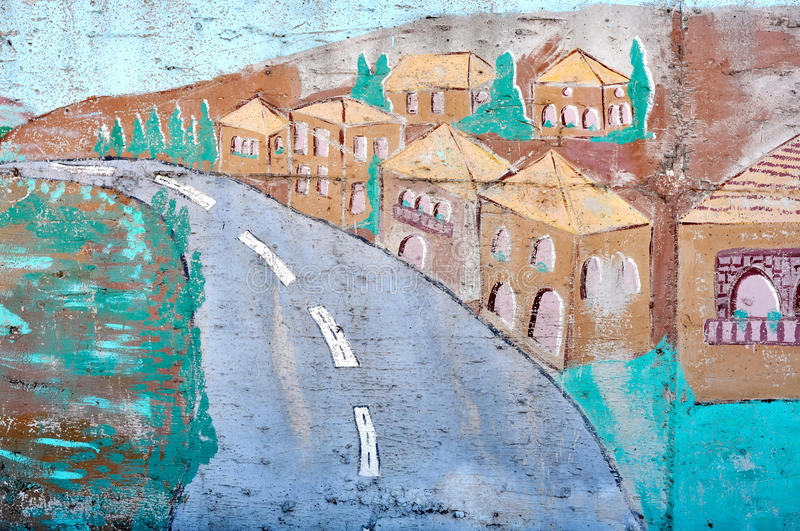 Download Village on a wall stock photo. Image of paint, wall, illustration - 26386626