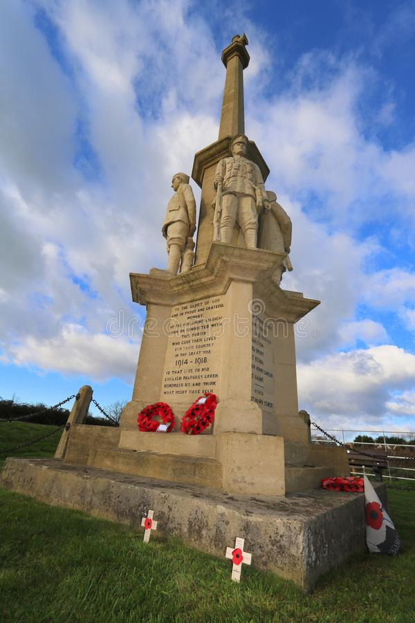 Village war memorial in England. The war memorial in the village of East Brent in Somerset, England on Remembrance Sunday 2017 stock photos