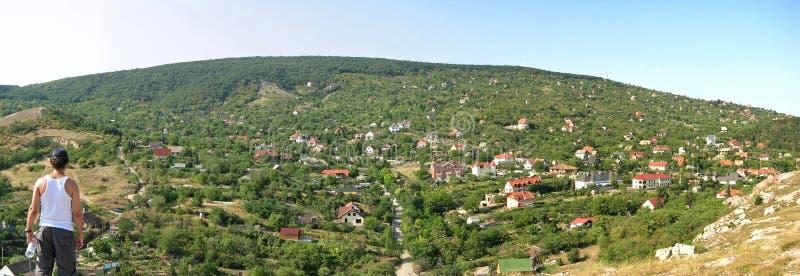 Village wide panorama stock photos