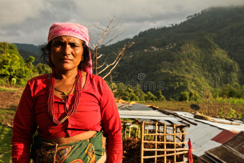 Village woman of the village of Sindhupalchowk after the earthquakes, Nepal, royalty free stock photo