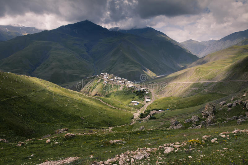 Village Xinaliq at Azerbaijan. View from oposite hill mountines Asia Caucasus stock image
