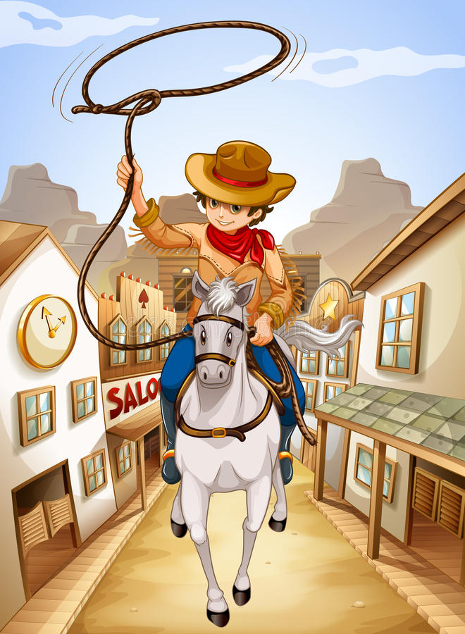 Download A Village With A Young Boy Riding In A Horse Stock Vector - Image: 33315644