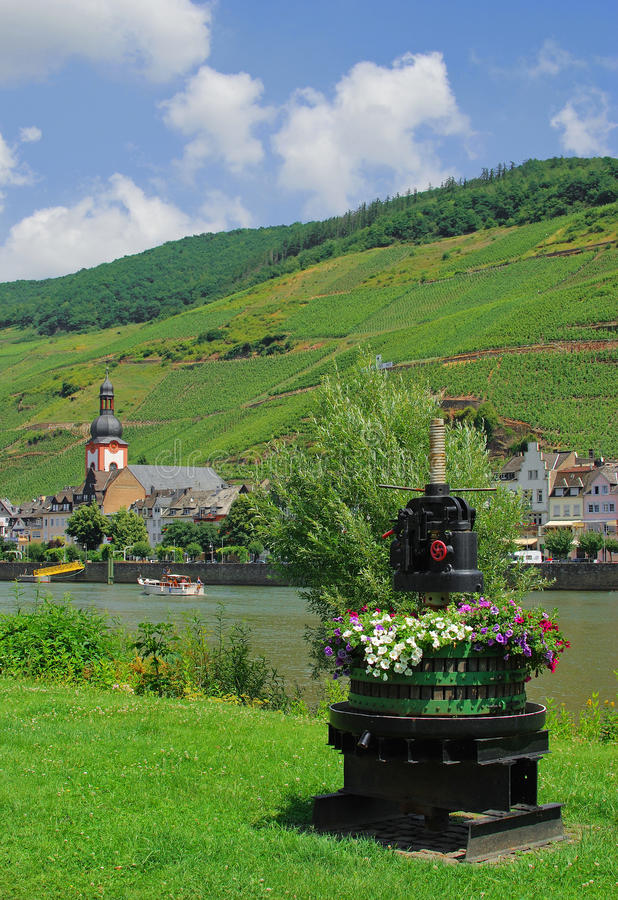 Village Zell,River Mosel,Germany. Village zell on river mosel,surrounded by vineyards,germany royalty free stock images