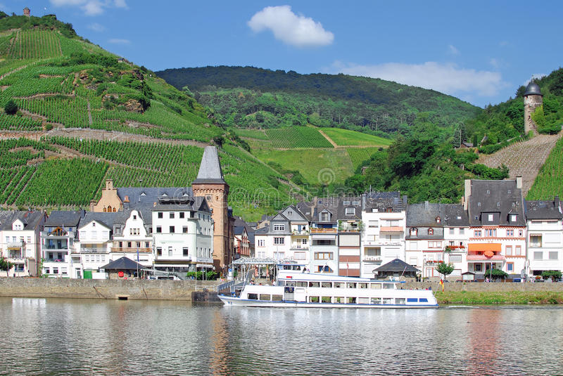 Village Zell,River Mosel,Germany. Village zell on river mosel,surrounded by vineyards,germany royalty free stock photos