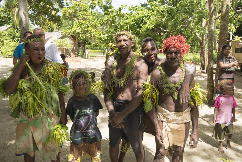 Villagers traditional costumed, nature material, Solomon Islands, South Pacific Ocean stock photography