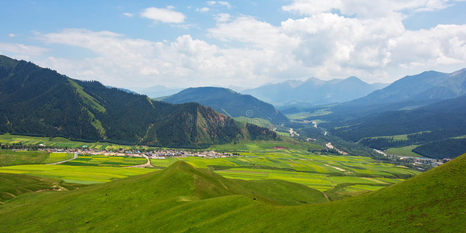 The villages in the valley 2. The villages in the valley, view from the Qilian Zhuo mountain stock images