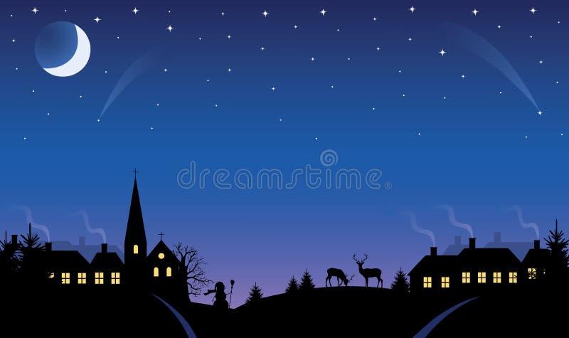 Villaggio alla notte. illustrazione di stock