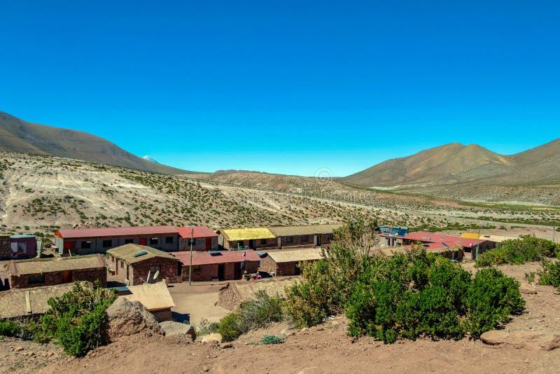 Villaggio andino affascinante tipico di Machuca piccolo, deserto di Atacama, Cile, Sudamerica fotografia stock libera da diritti
