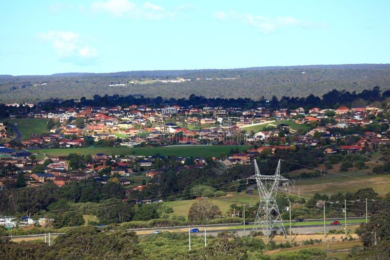 Villaggio australiano con paesaggio fotografia stock