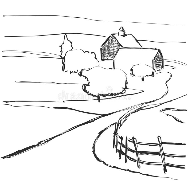 Villaggio, campi, fondo grafico Schizzo del paesaggio royalty illustrazione gratis