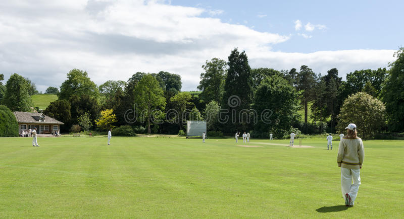 Villaggio Criicket - gioco del cricket - North Yorkshire fotografie stock